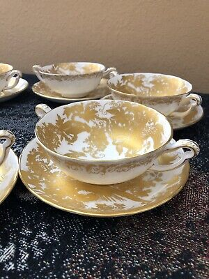 Royal Crown Derby Gold Aves Cream Soup Bowl China And Under Plate -Excellent