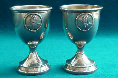 Two unusual Golf Golfing Silver Egg Cups Hole in One Trophy