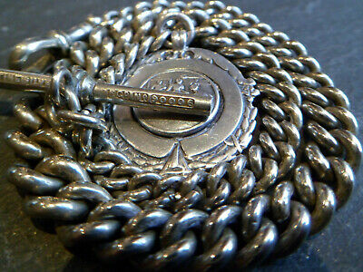 39g Chunky Graduated Mixtine Silver Albert Pocket Watch Chain + Solid Silver Fob