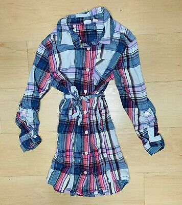 103c0055acee GAP KIDS GIRLS Size Small 6-7 Plaid Pink Blue White Belted Long ...