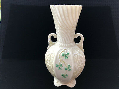 Belleek Vase With Shamrocks - Vintage—very, very old. Can't find another like it