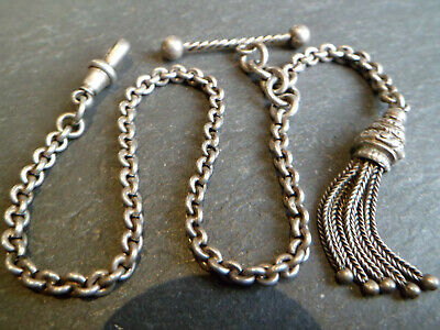 Antique Victorian Solid Silver Albertina / Albert Pocket Watch Chain +Tassel Fob