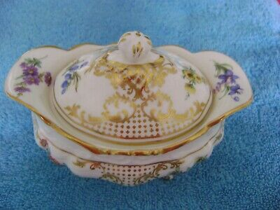 Rare Vintage Hammersley Old Meissen Pattern Sugar Bowl with Cover