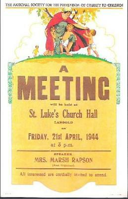 Langold, Nottinghamshire - NSPCC poster from 1944 on postcard, 1984