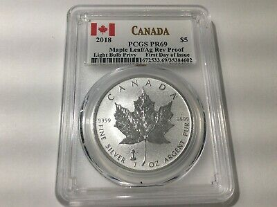 2018 Canadian $5.00 Maple Leaf Reverse Proof PCGS-PR69