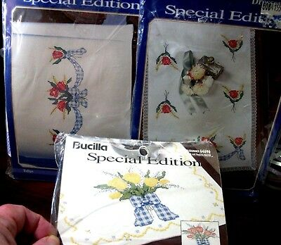 "3 kits Stamped Xstitch Bucilla ""TULIPS & BOWS"" dresser scarf, pillowcases, table"