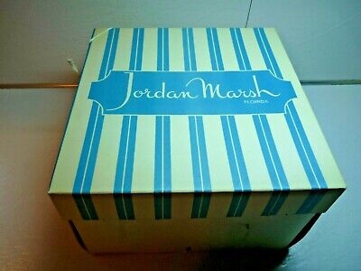 Original JORDAN MARSH Dept Store Florida Blue Stripe Hat Box w/ Attached String