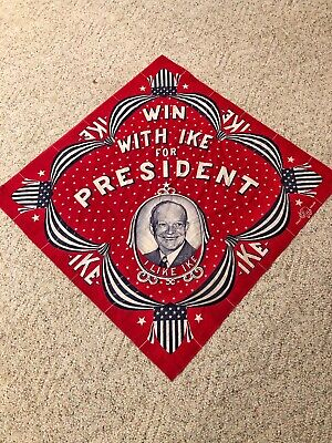 """Vintage 1952 Dwight Eisenhower """"Win With Ike"""" Presidential Campaign Cloth Banner"""