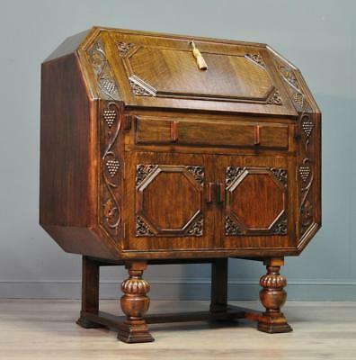 Attractive Art Deco Carved Oak Writing Bureau Desk Cabinet With Internal Drawers