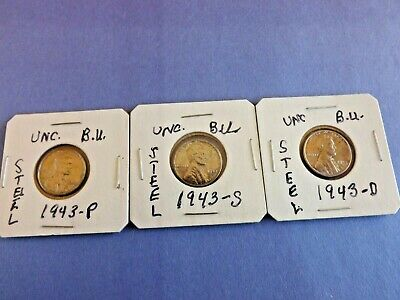 Coins-3 Piece Set=1943-P/ 1943-S/ 1943-D Lincoln Wheat=Steel Cents=Uncirculated