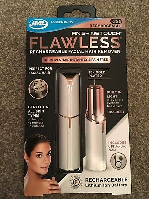 JML Rechargable Finishing Touch Flawless Facial Hair Remover -White/Gold Edition