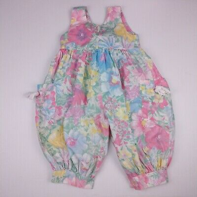 Cotton Candy Vtg Bubble Romper Size 3T Pastel Watercolor Floral Bow Pockets USA