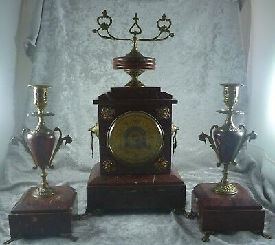 Antique Estate Rouge Marble & Brass French Made Clock Garniture 1880's