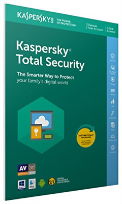 Kaspersky Total Security 2019 - Box Pack (1 Year) - 3 Devices, 1 Us... NEW