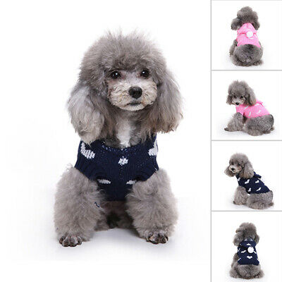 Blue/ Jacket Small Christmas Puppy Warm Knit Pullover Sweater Apparel Dog Pet