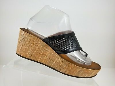 440effc335e Clarks Collection Black Perforated Slip On Thong Wedge Sandals Womens 8.5M