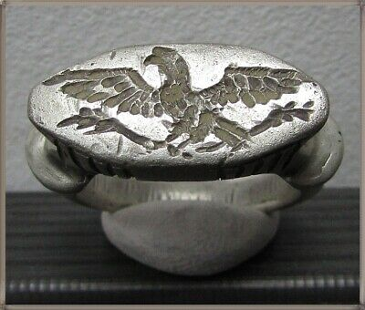 ** LEGIONARY EAGLE **Ancient Silver Legionary Roman Ring **AMAZING **16.7g