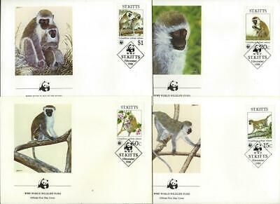 ST KITTS (1986) 'Green Monkey'    Set of 4 First Day Cover    WWF    [9423]