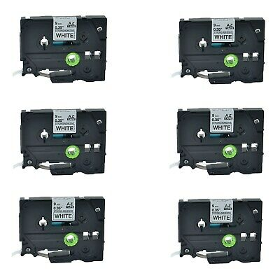 6PK TZe-S221 TZ-S221 Black On White Label Tape For Brother P-Touch PT-2700 9mm