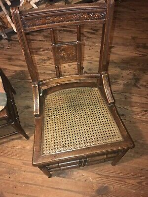 Gorgeous Antique (4) Carved Wood/Wicker Chair Set - 1 Armchair, 3 Chairs