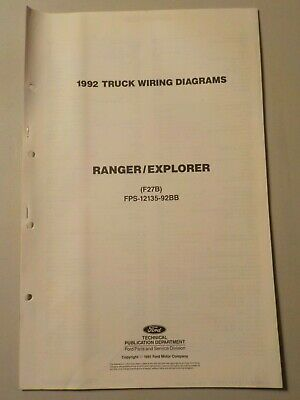 1992 Ford Ranger Explorer Truck Electrical Schematic Wiring Diagram Manual