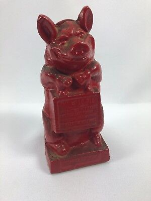 Vintage Cast Iron The Wise Pig Still Bank
