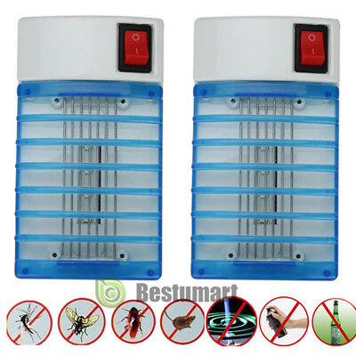 2LED Electric Anti Mosquito Night Lamp Killer Zapper Fly Bug Insect Trap US Plug