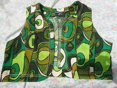 Vintage 1970's 'California Miss' trippy vest with a vibrant green pattern