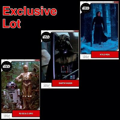 DIGITAL Star Wars Card Trader KYLO VADER C-3PO R2-D2 2019 White Exclusive 3x LOT
