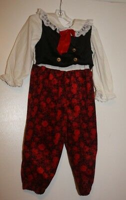 Vintage girls romper  2 T dressy red / black / white one piece
