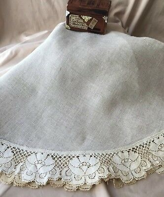 Antique Irish 100% Linen Round Tablecloth With Lace Edge 30 Inch