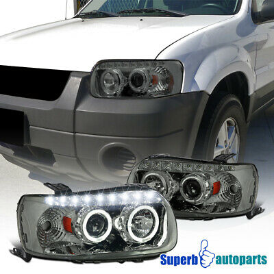 2005 2007 Ford Escape Smoke Dual Halo Smd Led Drl Projector Headlights Tinted