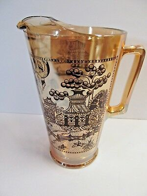 Carnival Glass Blue Willow Pattern Glass Pitcher Iridescent Rare Ice Lip Vintage