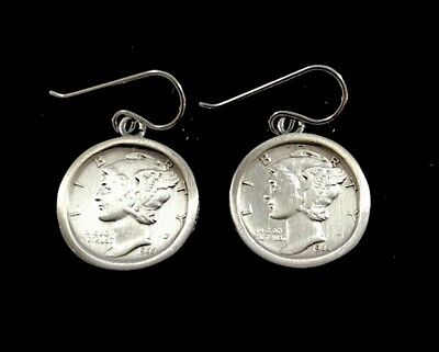 Vintage 925 Sterling Silver Bezel Earrings w/ US Mercury Dime Coins, Made in USA