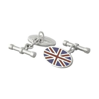 Brand New Solid 925 Sterling Silver Enameled Union Jack Chain Bar Cufflinks