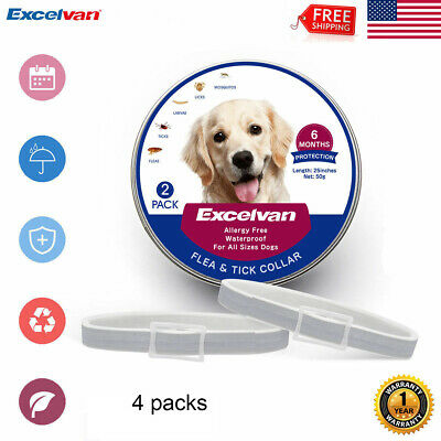"4PCS Flea and Tick Collar for Small Dog Cats Up to 25"" 6 Month Protection Safe"