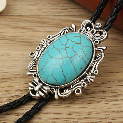 Vintage Western Cowboy Oval Turquoise Bolo Tie Rodeo Dance Necktie Bootlace Tie