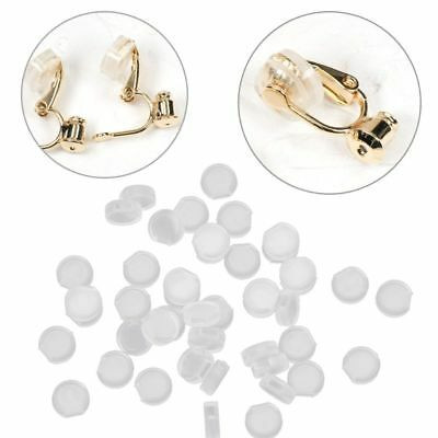 50Pcs Earring Pads Silicone Comfort Earring Cushions for Clips on Earrings Clear