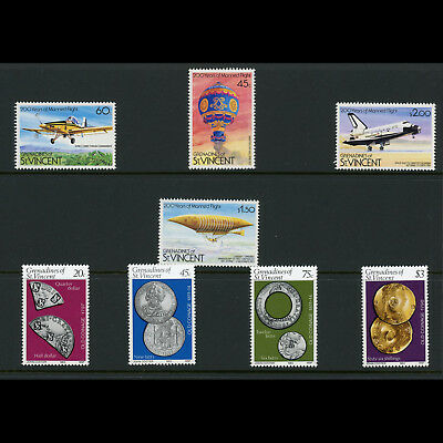 GRENADINES of ST VINCENT 1983  Manned Flight & Coins. SG 250-253, 267-270(AT573)
