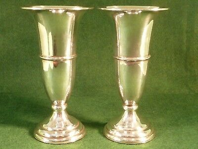 "Antique Pair of Silver Plated Trumpet Vases , Height 6"" inches, Weighted bases"