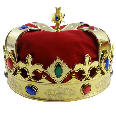 Kings Crown Red Jeweled Royal Fancy Dress Up Festival Party Costume Accessory LG