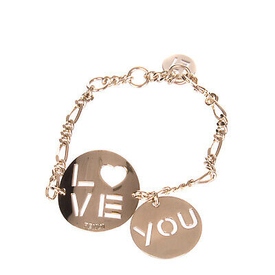 FENDI Chain Bracelet Logo Charms Cut Out Details 'Love You' Made in Italy
