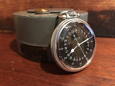 1950 Hamilton GCT 22j WWII 4992B Military Navy Army Pocket Watch Air Mans Case