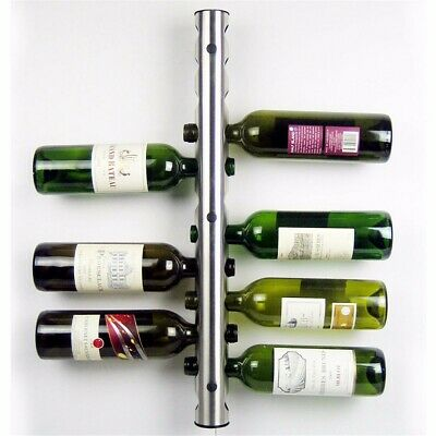 Modern Stainless Steel Vertical Wall Mounted Wine Rack Holder Stand 12 Bottle