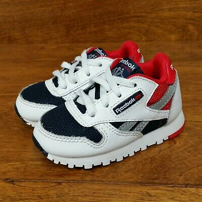 7e95655211f2 Reebok Classic Leather (Toddler Size 4) Casual Sneaker Shoes White Black Red