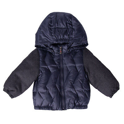 BREST Down Quilted Jacket Size 6-9M Wool Sleeve Detachable Hood Full Zip