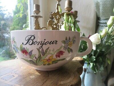 Charming Vintage French Ceramic Breakfast Chocolate Bowl / Cup ~ Bonjour