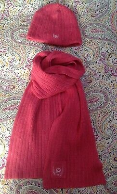Duck & Cover Scarf And Beanie Hat Set Pink Women's Girls Wool Cashmere Angora