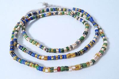 Alte Mix Chevron Glasperlen 102cm AG53 Old Striped Chevron African trade beads