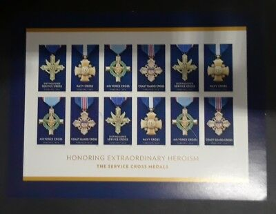 Travelstamps: 2016 The Service Cross Medals 12 Forever Stamp Sheet, Mnh Heroism
